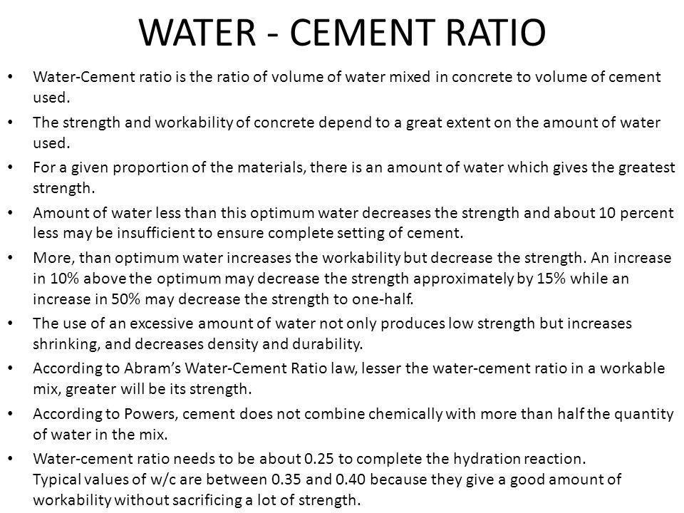 Water-Cement Ratio - Online Civil