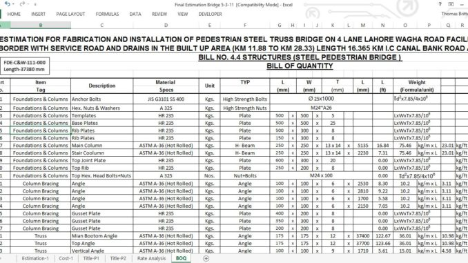 Printables Estimate Worksheet bridge cost estimate worksheet online civil the preliminary should be used to for new and replacement projects is based